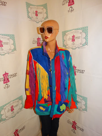 Vintage Santa Fe Creations Suede Colorful Suede Jacket Size XL