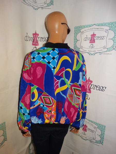 Vintage Purple Colorful Bomber Jacket Size M