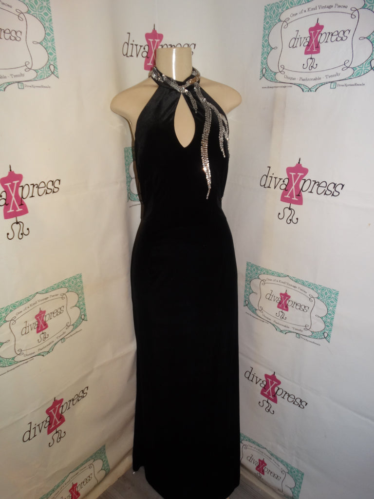 Vintage Night Way Collections Black/Silver  Velvet Dress Size 14 tall or Size XL