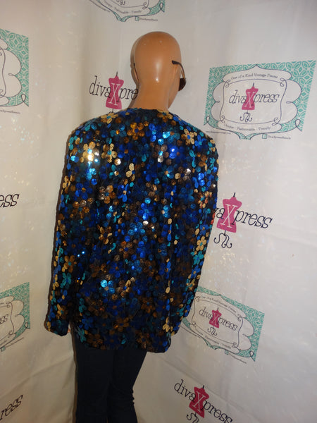 Vintage Sequins Blue/Gold Throw Size L