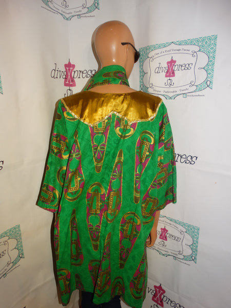 Vintage The African Village Green Mask Blouse With Tie Size 2x