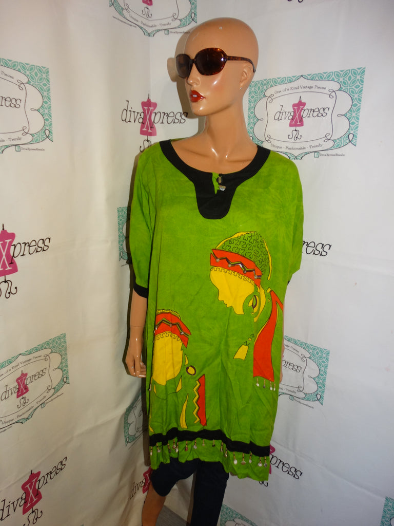 Vintage The African Scene Green Face Top Size 2x