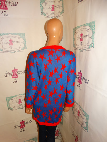 Vintage WildCrest Blue/Red Star Sweater Size XL