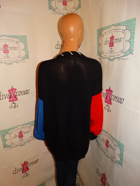 Vintage work In Progress Black Colorful Cardigan Sweater Size 2x