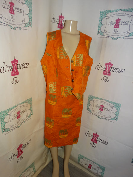Vintage Orange/Gold Elephant Vest Skirt Set Size L