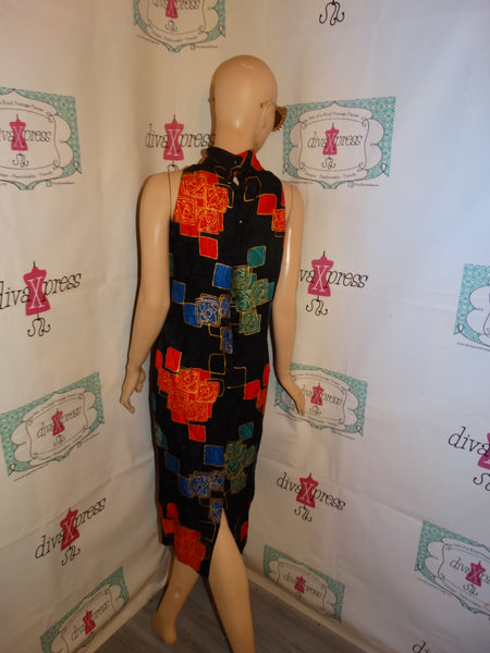 Vintage Ujoncill Black Colorful Dress Size S
