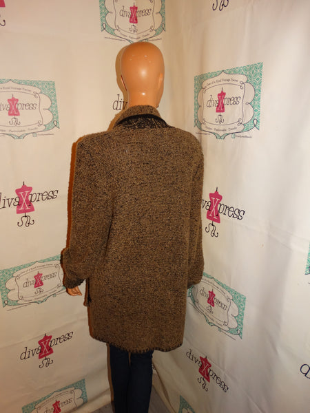Vintage Side Effects Petite Tan/Black Sweater Throw Size L