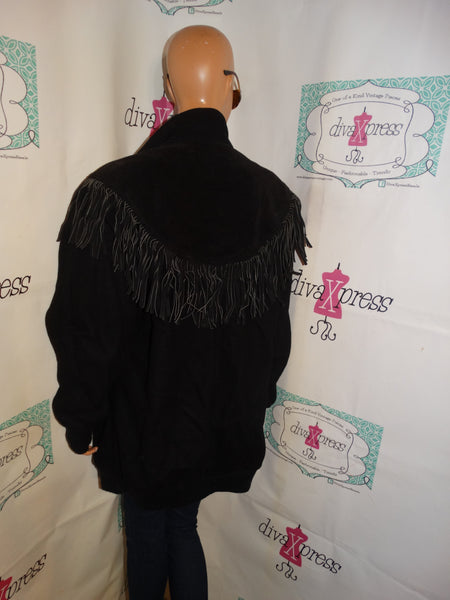 Vintage Michelle Thomas Black Wool/Suede Shingle Coat Size 1x