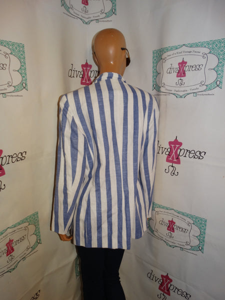 Vintage The Limited Collection Blue/White Stripe Blazer Size M