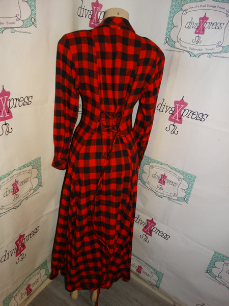 Vintage Jan Barboglio Black/Red Plaid High Shoulder Long Dress Size M