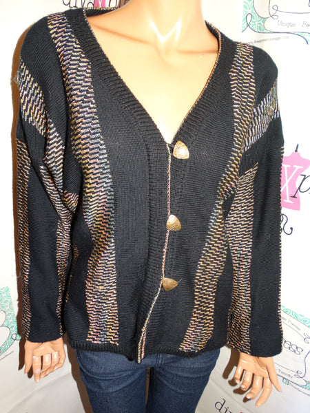 Vintage M&GDesigns Black/Gold Sweater Size L