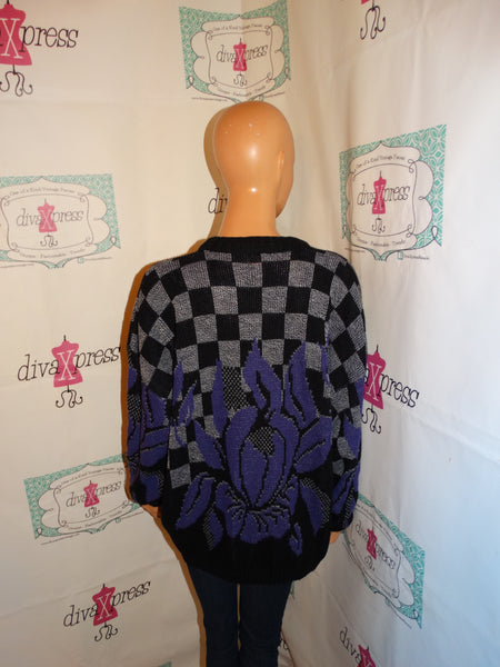 Vintage Spunky Gray/Purple Sweater Size 2x