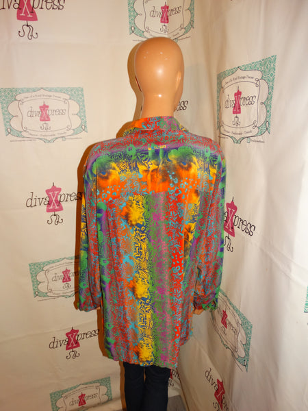 Vintage Pink Colorful Silk Blouse Size XL