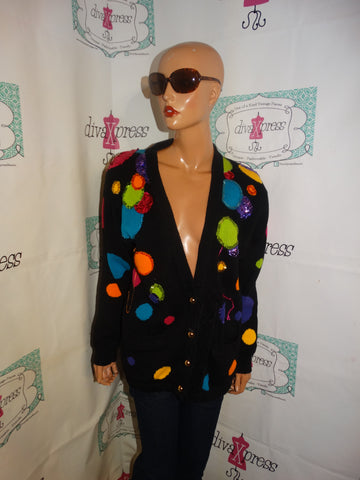 Vintage Marie Diamond Black Polka Dot Sweater Colorful Size XL