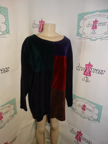 Vintage Jason Maxwell black Colorful Top Size 2x