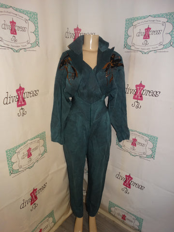 Vintage IIF Green Beaded Romper Size S