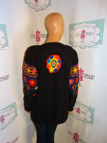 Vintage Kitty Hawk Black Colorful Sweater Size M