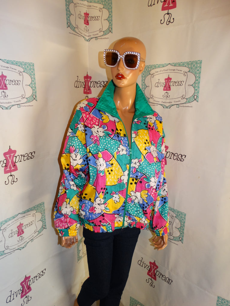 Vintage Tray And Carl Colorful Bomber Jacket Size L