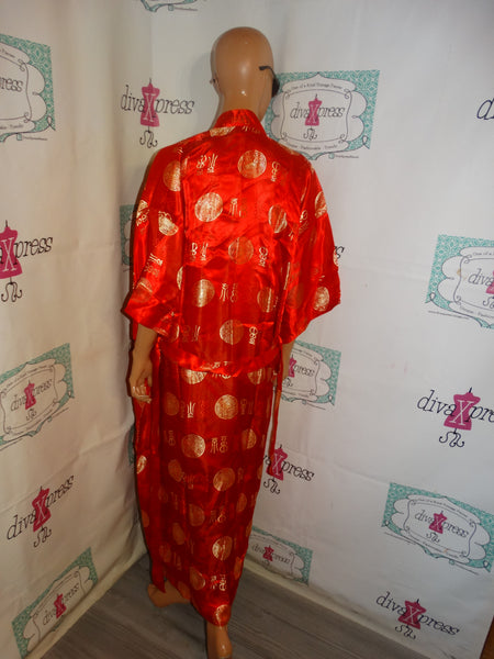 Vintage Red/Gold Asian Kimono/Duster Size L-XL