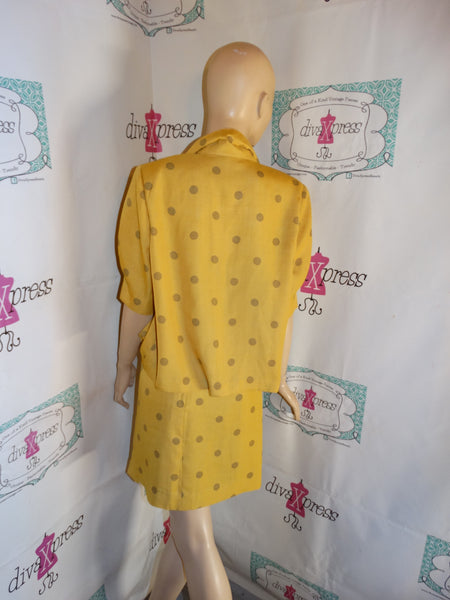 Vintage Mustard Yellow/Brown Polka Dot 2 Piece Skirt Set Size M