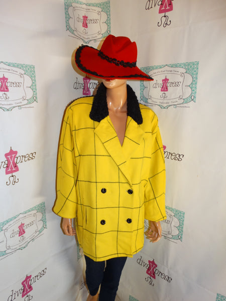 Vintage Janie Lust Yellow/Black Jacket Size 2x