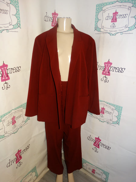 Vintage Nine West Burgundy 2 Piece Pants Suit Size 2x