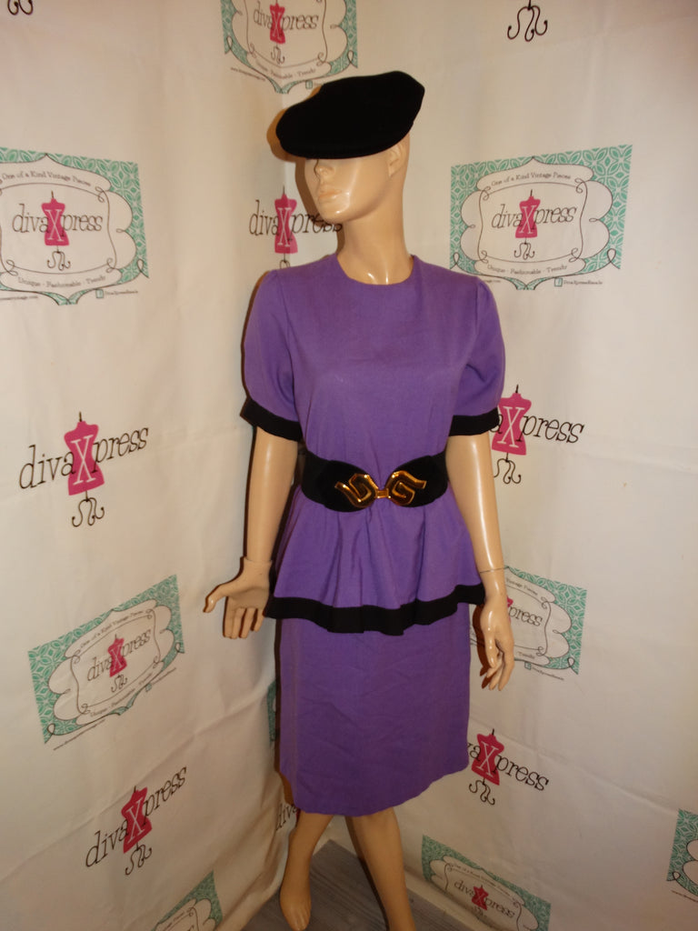 Vintage Purple/Black Peplum Dress Size M