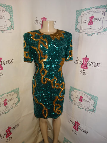 Vintage Lawerence KAzar Green/Gold Sequins Dress Size M
