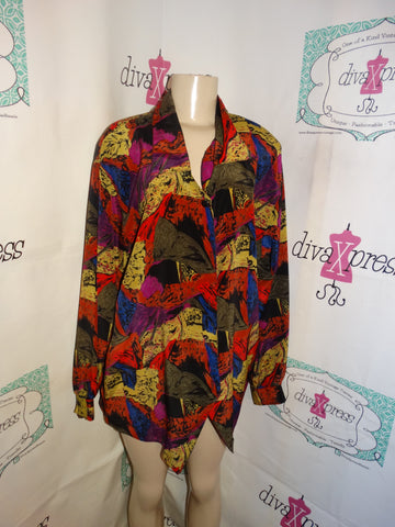 Vintage Notations Colorful Blouse Size 1x