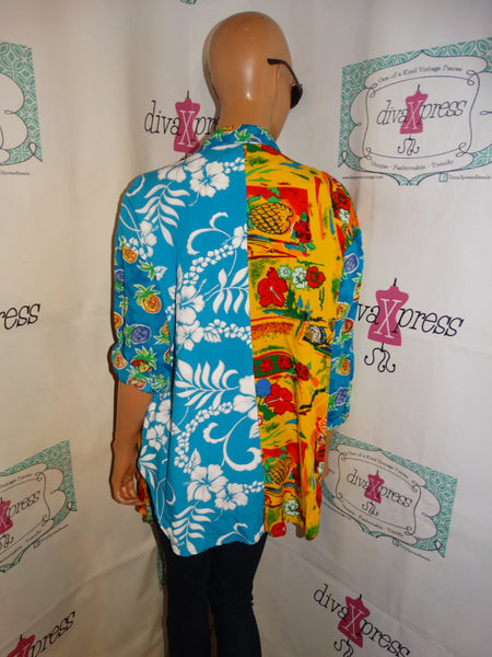Vintage Surya Blue Floral Colorful Blouse Size L