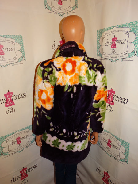 Vintage Traveler Purple Floral Faux Fur Coat Size S