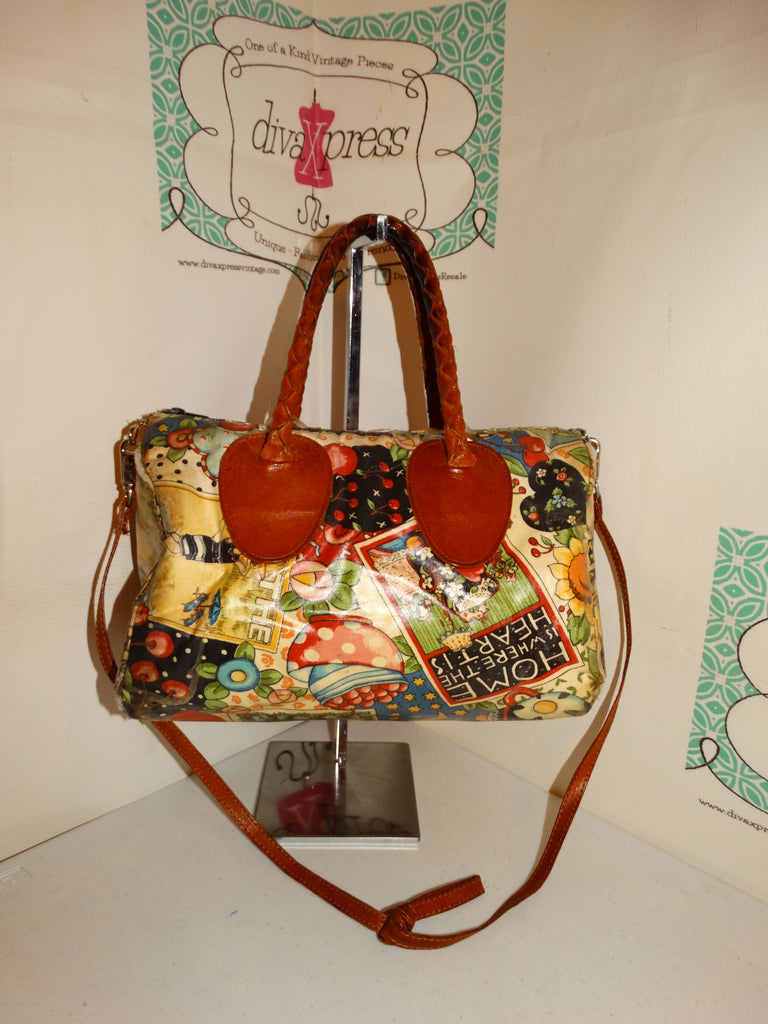 Vintage Tan Colorful Leather Handle Speedy Style Purse Size M