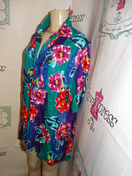 Vintage Partners Green Floral Blouse Size XL
