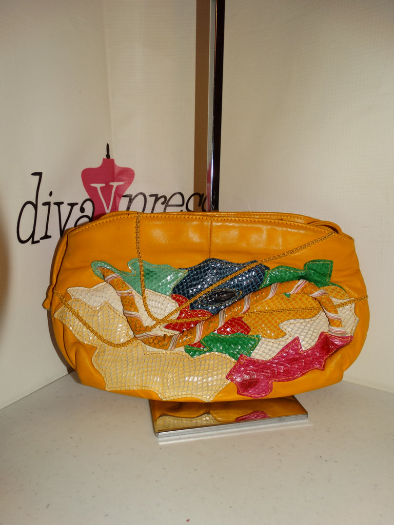 Vintage Yellow Leather/Snake Skin Clutch  Size S