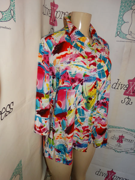Vintage Parsley Pink White Colorful Blouse Size M