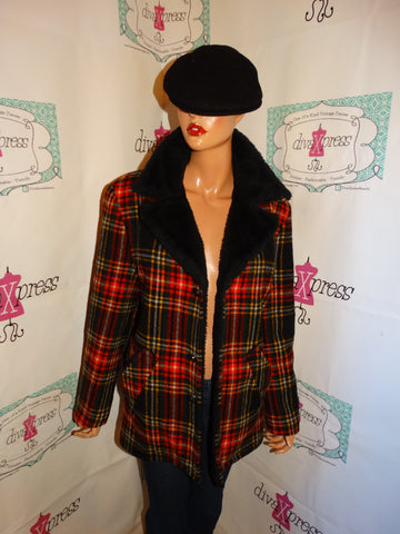 Vintage REd/Black/White yellow Plaid Lined Wool Jacket Size L
