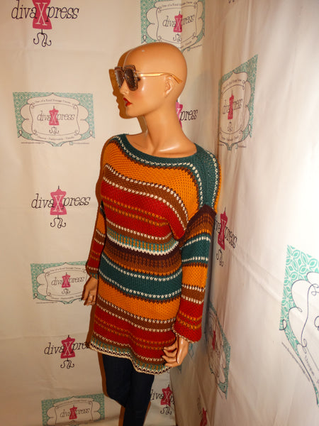 Vintage Turquoise Green Colorful Sweater Size L