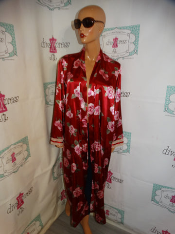 Vintage Red/ Floral Duster Throw Size XL