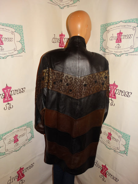 Vintage Toppolino Black/Brown Leather Coat Size 2x