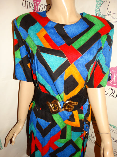 Vintage Prato Colorful 2 Piece Skirt Set Size M
