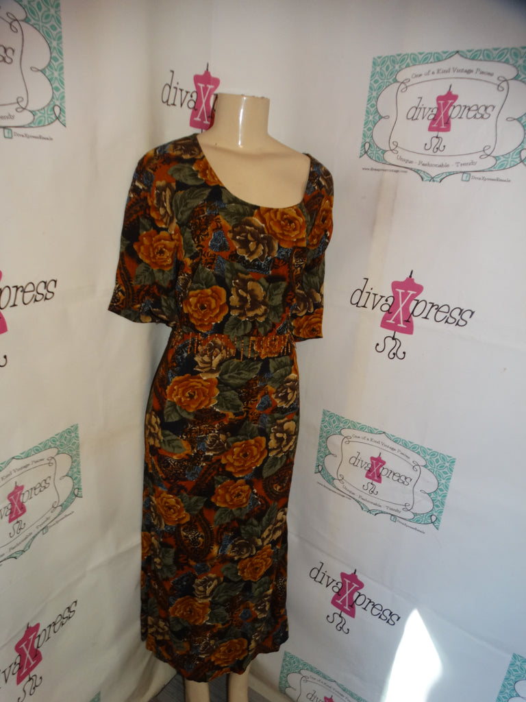 Vintage More Jazz Brown Green Floral Dress Size 2x