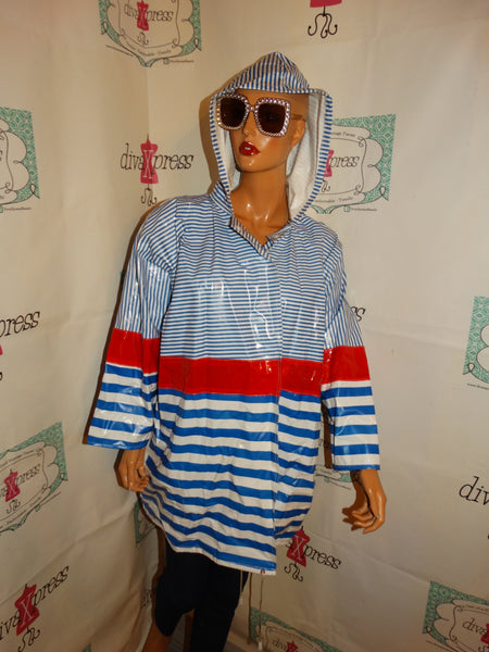 Vintage Itmes Itnernational Blue.White/Red Hooded Rain Coat Size 2x