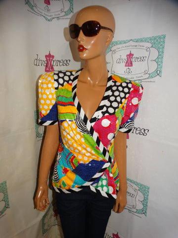 Vintage Lillie Rubin White Colorful Sequins Blouse Size S