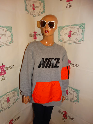 Vintage Nike Gray/Neon Orange Sweat Shirt Size 2x