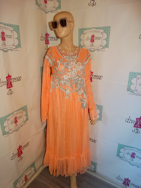 Vintage Coral Silver Dress Size S