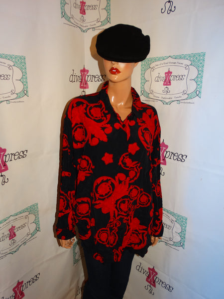 Vintage Sharon Anthony Black/REd Blouse SIze 2x