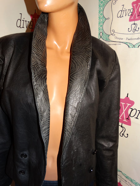Vintage New York Black Leather Short Jacket SIze S