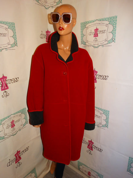 Vintage New Bay Red Sweater Coat Size 1x