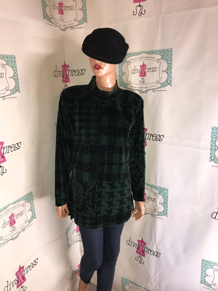 Vintage Jason Maxwell Green/Black Blouse Size XL
