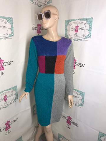 Vintage Knit Knack Gray Colorful Sweater  Dress Size S